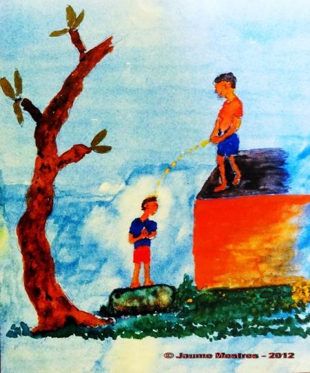 """Aquarel·la del metge i artista balinès Anak Agung Made Djelantik publicada al llibre """"Against All Odds: The Strange Destiny of a Balinese Prince"""", d'Idanna Pucci"""