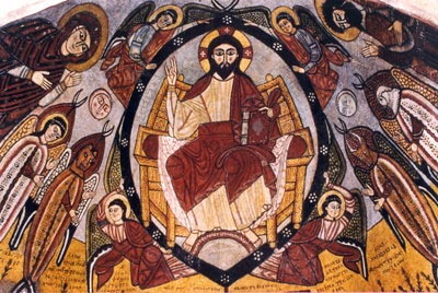 Crist Pantocràtor o l'Apocalipsi, una de les superbes pintures medievals revelades recentment al Monestir de Sant Antoni. Desert del Mar Roig. Egipte.